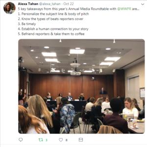 Alexa Tahan Media Roundtable Tweet